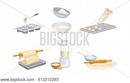 Baking Process With Doughing, Sieving And Rolling Using Cookware Vector Set