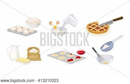 Baking Process With Flour Sieving, Dough Molding And Mixing Ingredients Using Cookware Vector Set