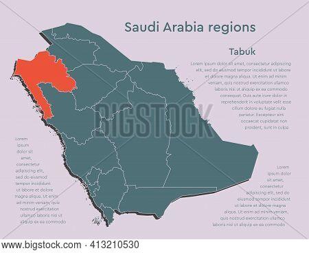 Vector Map Saudi Arabia Divided Regions, Tabuk