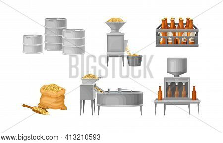 Beer Brewing Process With Steeping Cereal Grains And Bottling Vector Set