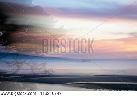 Abstract Intentional Camera Movement Sunset With Ghostly Effect Backgrounds