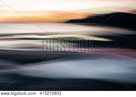 Abstract Intentional Camera Movement Coastal  Wavy Sunset Backgounds