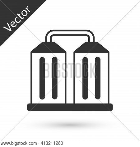 Grey Granary Icon Isolated On White Background. Silo With Grain, Elevator, Granary, Factory. Warehou