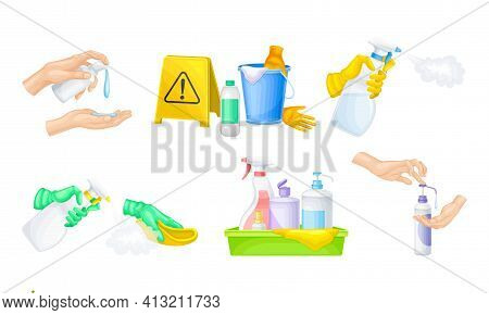 Bacterial Purification And Disinfection With Detergent And Disinfectant In Dispenser Bottle And Hand