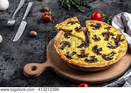 Mushroom Quiche Pie With Champignons And Cheese. Savory Tart With Mushrooms. Traditional French Pie