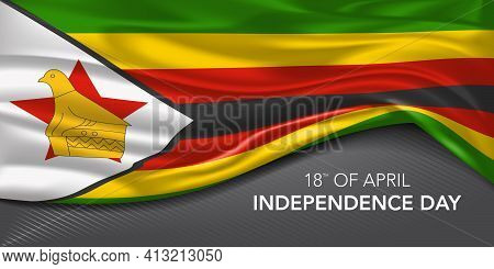 Zimbabwe Happy Independence Day Greeting Card, Banner With Template Text Vector Illustration.