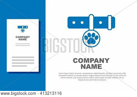 Blue Collar With Name Tag Icon Isolated On White Background. Supplies For Domestic Animal. Dog Or Ca