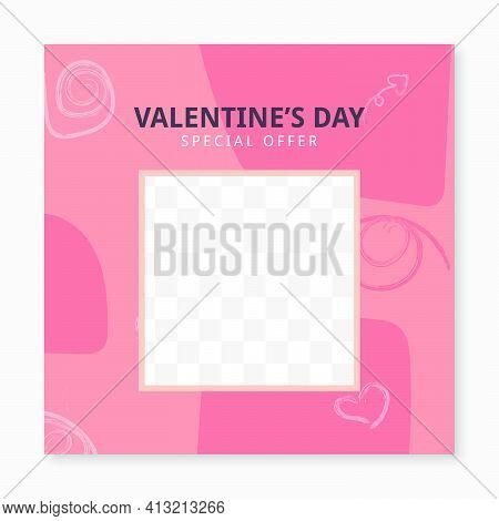 Abstact Special Offer Valentine's Day Sale Social Media Post Template With Frame. Web Banner Promoti