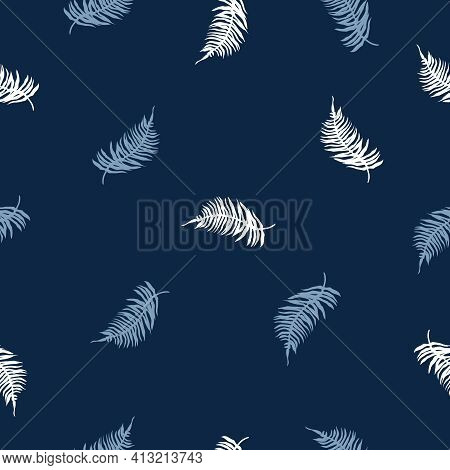 Seamless Pattern Of Tropical Fern Leaves On Dark Blue. Beautiful Print With Exotic Plants. Botanical