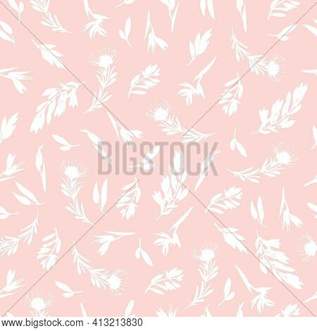Pink Seamless Pattern With Small Plants. Botanical Design Of Fabrics, Wallpapers, Natural Cosmetics,