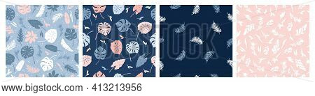 Vector Set Of Seamless Patterns Of Tropical Leaves, Plants, Flowers On Blue And Pink. Beautiful Prin