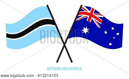 Botswana And Australia Flags Crossed And Waving Flat Style. Official Proportion. Correct Colors.