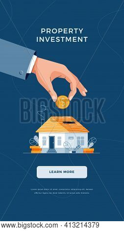 Property Investment Concept. Businessmans Hand Puts The Coin Into House Piggy Bank For Real Property