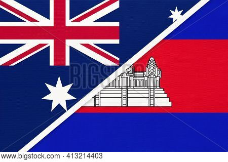 Australia And Cambodia Or Kampuchea, National Flags From Textile. Relationship, Partnership And Matc