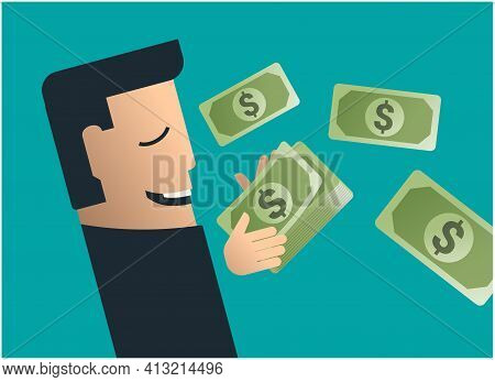 Passive Incomes. Business Man Dreaming About Money. Abstract Vector Illustration