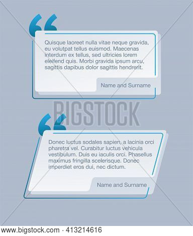 Quotes Template In Light Gray Color - Decorative Frame Block. Creative Blue Quotation Marks And Plac