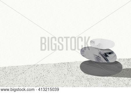Meditation stones gray background zen mindfulness illustration