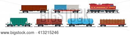 Train Freight Wagons, Rail Cargo And Railroad Containers. Freight Train With Wagons, Tanks, Freight,