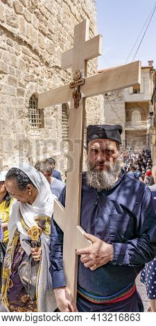 Jerusalem, Israel - 2019-04-26 - Christians Carry Symbolic Crosses On City Streets.