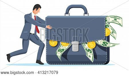 Businessman Pushes Huge Briefcase With Money. Business Man Pushing Big Suitcase Full Of Cash. Dollar