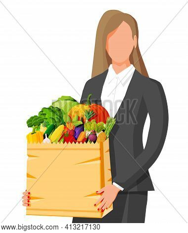 Woman Customer With Paper Bag Full Of Fresh Vegetables. Farming Fresh Food, Organic Agriculture Prod