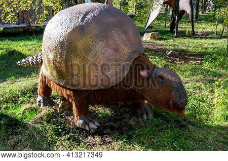 Russia, Moscow - September 29, 2018: Prehistoric Extinct Armadillo Glyptodont. Life-size Model Of An