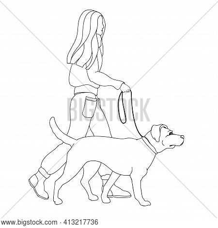 Dog Walking. Dog Sitter. Girl Leads A Pet. Linear. Vector.