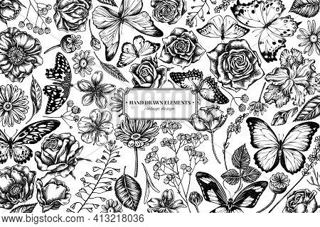Floral Design With Black And White Shepherd S Purse, Heather, Iris Japonica, Sakura, Gypsophila, Cha