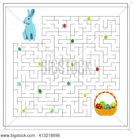 Puzzle Game Maze For Kids, Easter Eggs. Guide The Easter Bunny Through The Maze To The Basket Of Eas