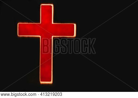 Silhouette Of Christian Cross, Lights, Bokeh On Black Background. Copy Space. Faith Symbol. Church W