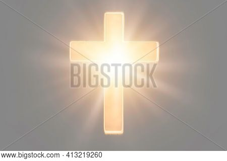 Christian Cross With Lights, Bokeh On Black Background. Copy Space. Faith Symbol. Church Worship, Sa