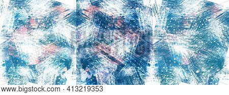 Collection Of Dynamic Abstract Backgrounds In Blue And Pink Shades. Association With A Blizzard, Sno
