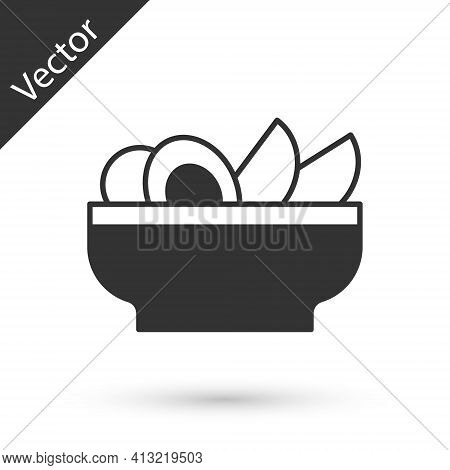 Grey Nachos In Plate Icon Isolated On White Background. Tortilla Chips Or Nachos Tortillas. Traditio