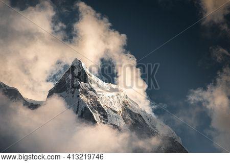Peak Of Kangtega Mount In Himalaya Mountains At Sunset. Khumbu Valley, Everest Region, Nepal.