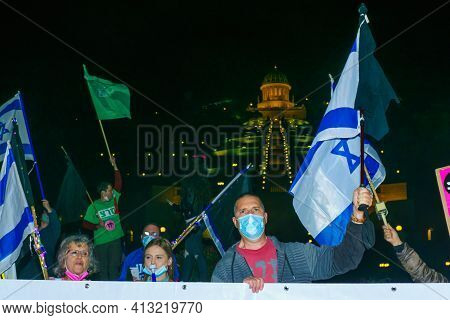 Haifa, Israel - March 17, 2021: Protest Rally Against Prime Minister Benjamin (bibi) Netanyahu, With