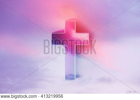 Cross With Globe In Background. Jesus Christ The Only Way To Salvation. Church Worship. Faith Symbol