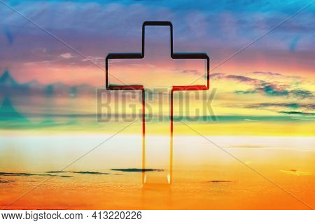Silhouette Of Shining Cross On Sunset, Sunrise Background. Banner. Copy Space. Easter, Ascension Day
