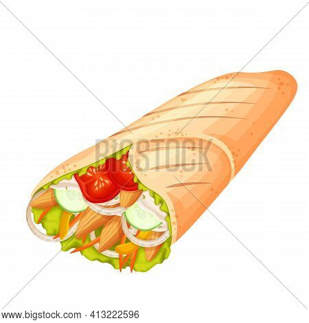 Shawarma Or Chicken Wrap Vector Icon. Turkish Fast Food With Meat And Vegetables In Pita Bread. Meal