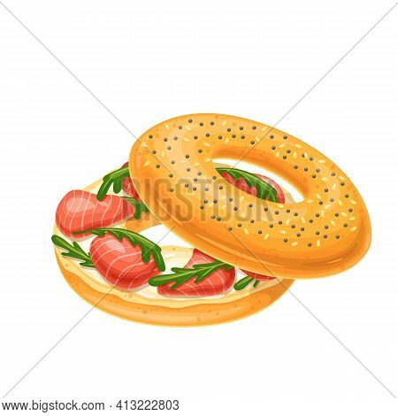Bagel With Cream Cheese And Smoked Salmon. Traditional Sandwich With Cream Cheese And Salmon. New Yo