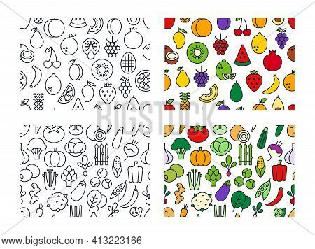 Set Of Vector Seamless Patterns With Fruits And Vegetables. Endless Texture, Background, Wallpaper.