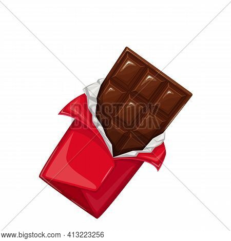 Chocolate Bar In The Open Wrapper Vector Icon. Chocolate Sweets Illustration For Ad Design Confectio