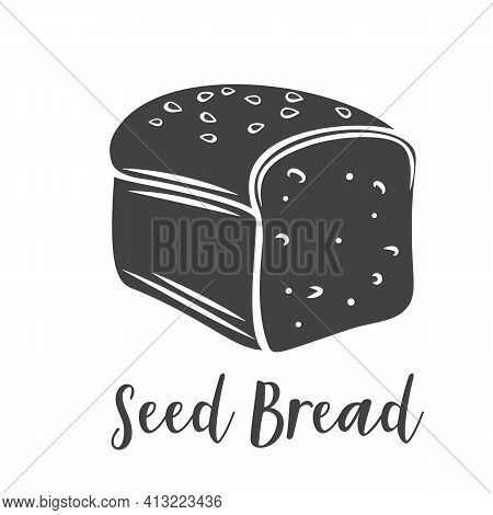 Seed Bread Glyph Icon For Bakery Shop Or Food Design, Cut Monochrome Badge. Vector Illustration.