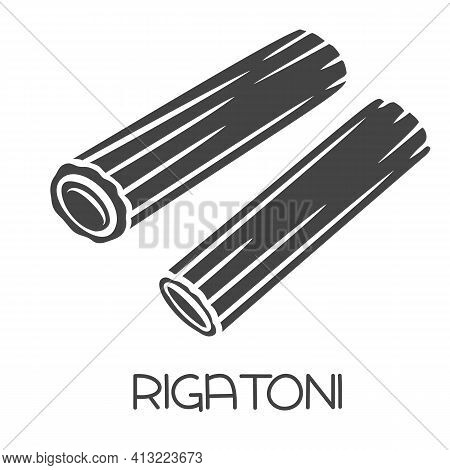 Rigatoni Pasta Glyph Icon. Italian Cuisine Cut Monochrome Badge.. Retro Style Vector Illustration.