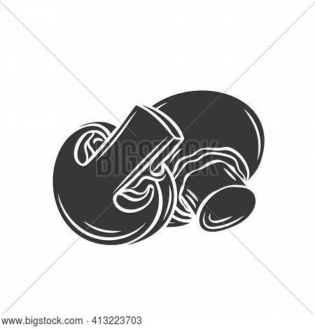 Champignon Mushroom And Slices Glyph Icon, Vector Cut Monochrome Badge. Tasty Vegan Ingredient Isola