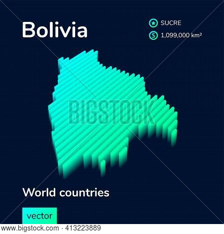 Stylized Striped Digital Neon Isometric Vector Map Of Bolivia With 3d Effect. Map Of Bolivia Is In G
