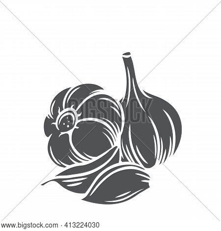 Garlic Glyph Icon, Vector Cut Monochrome Badge. Farm Market Product, Isolated Vegetable, Hand Drawn