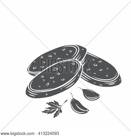 Crunchy Garlic Bread With Garlic Cloves And Parsley Glyph Cut Vector Monochrome Illustration Of Frie