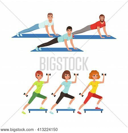 Young Male And Female Doing Physical Exercises On Mat During Aerobics Class Vector Set