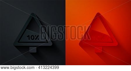 Paper Cut Steep Ascent And Steep Descent Warning Road Icon Isolated On Black And Red Background. Tra