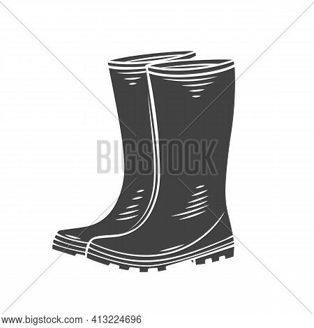 Rubber Garden Boots Glyph Icon, Vector Cut Monochrome Badge. Protection Shoes, Waterproof Footwear O
